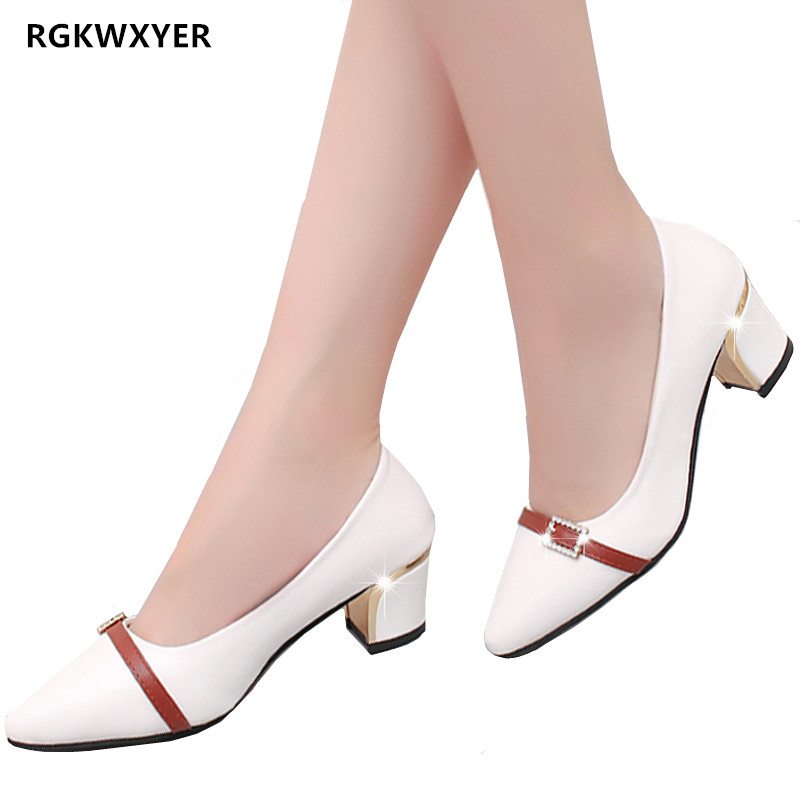 RGKWXYER New Heels Small Fresh Comfortable Single Shoes Low Heel Sexy Round Head Mid Fashion Womens 2019