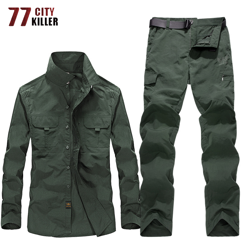 77City Killer Military Uniform Summer Quick Drying Shirts+Cargo Pants Waterproof Army Combat Suit Tactical Work Hunt Clothing