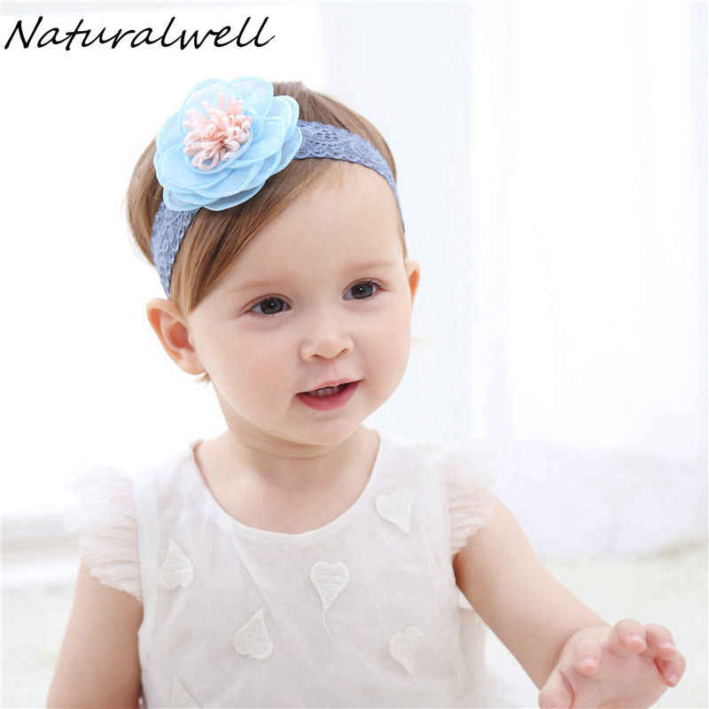 Naturalwell Baby Baptism hair flowers pink or blue on lace band Baby Hairband Toddler girls head band Newborn shower Gift HB067