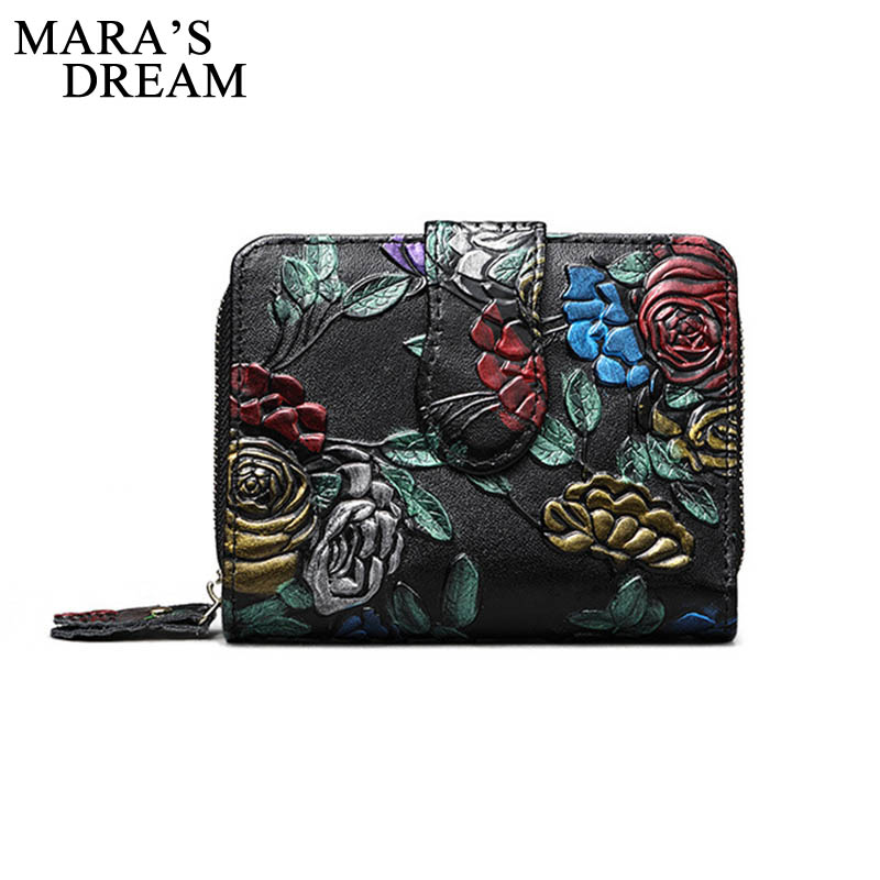 Mara's Dream Women Wallets Zipper Wallet Female Genuine Leather Solid Slim Small Purse Card Holder Short Floral Zipper Coin Pock