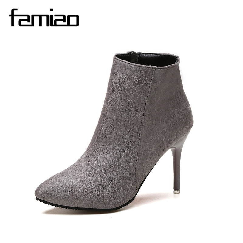 FAMIAO Ankle Boots Fashion Women Boots Genuine Leather Boots Pointed Toe Stiletto High Heel Black Gray Autumn Sexy Shoes 2017