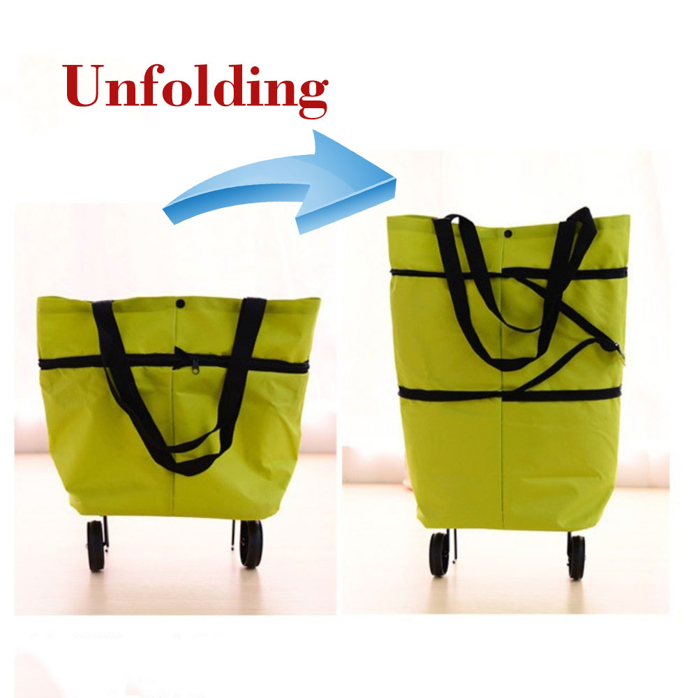 Car Folding Luggage Cart adjustable Shopping Bag Fashion Flexible Cargo Bag With Wheels Fit For Grandmother and Ladies