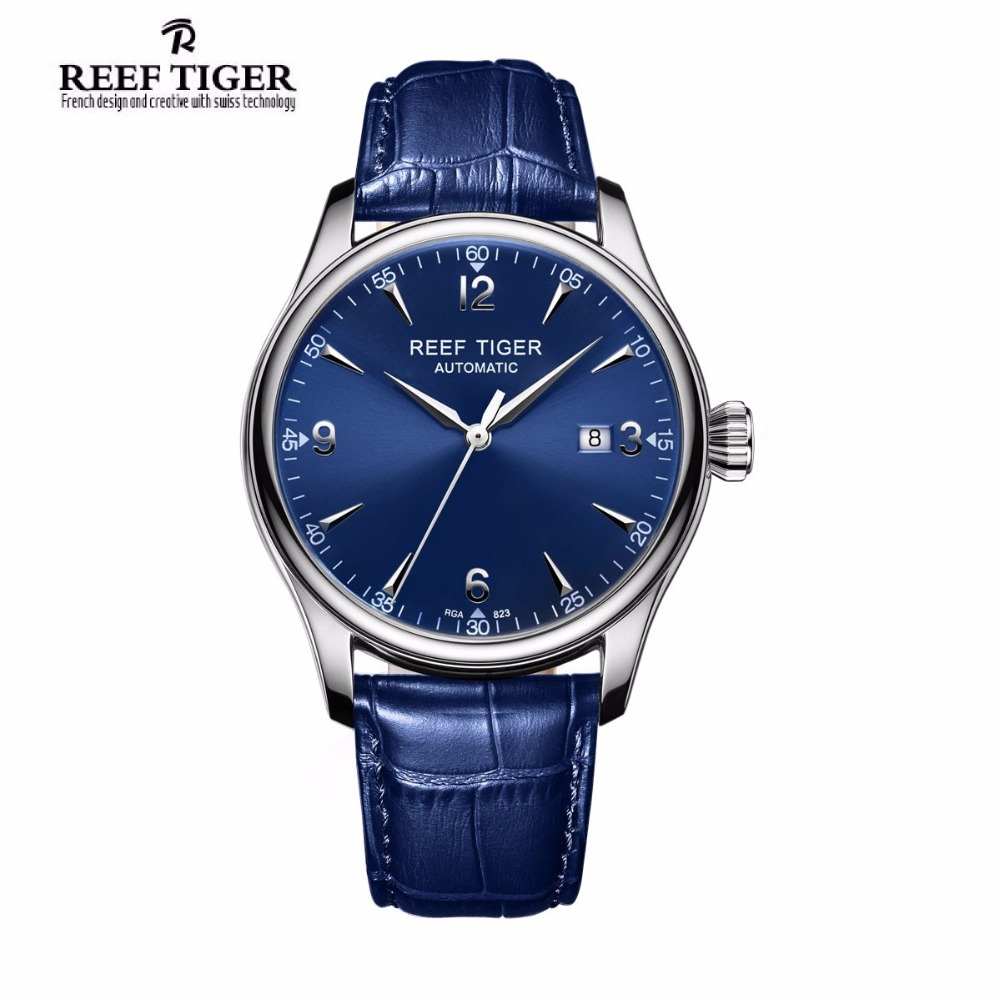 Reef Tiger/RT Dress Men's Automatic Watches Stainless Steel Blue Dial Leather Strap Watch with Date RGA823G reef tiger designer fashion diamonds automatic watch with white mop dial steel watches for women rga1550