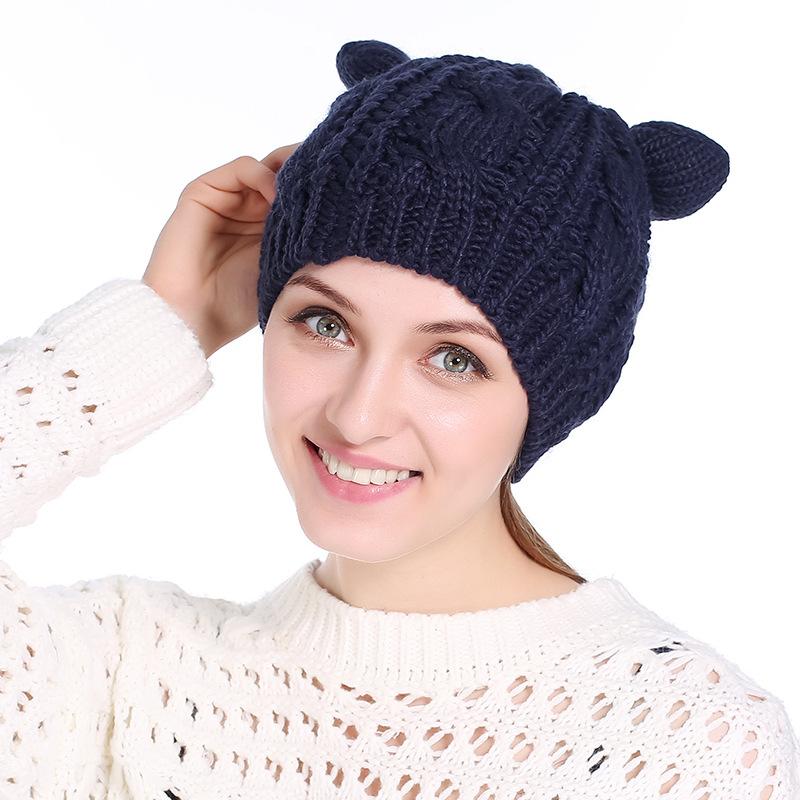 e568a541191 Cat Ears Hat Women Knitted Beanie Winter Cap Lovely Skullies Beanies ...