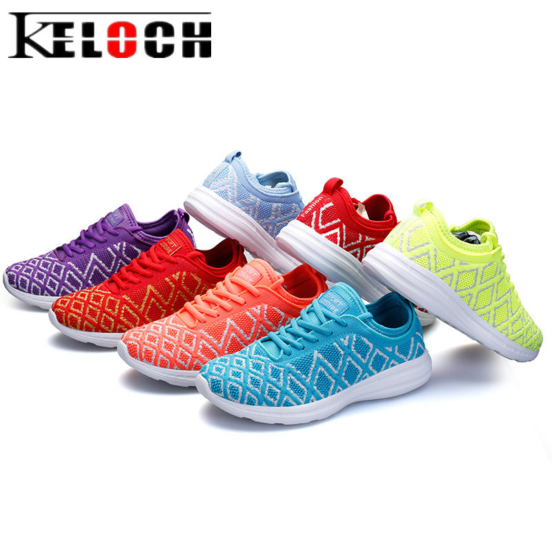 Keloch Women Summer Breathable Mesh Flats Shoes 2018 Fashion Female Soft Casual Shoes Lace-Up Sneakers Women Zapatos Mujer mwy women breathable casual shoes new women s soft soles flat shoes fashion air mesh summer shoes female tenis feminino sneakers