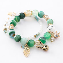 Korean Funny Double Layers Crystal Beaded Rabbit Leaf Pendant Bracelet & Bangle for Women Girls Charm Statement Party Jewelry(China)