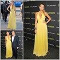 2015 Sexy Yellow vestidos meninas Beach cabestro fuera del hombro gasa vestido de la celebridad premios vestido de noche