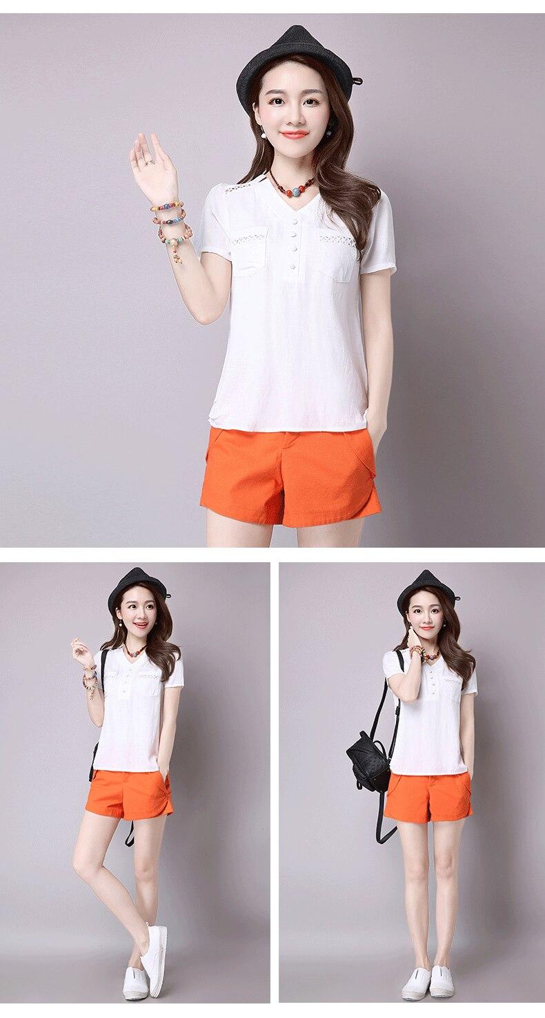 Short sleeve blusas feminina ver o 2019 summer tops women tops linen shirt women blouses off shoulder women blouse 11