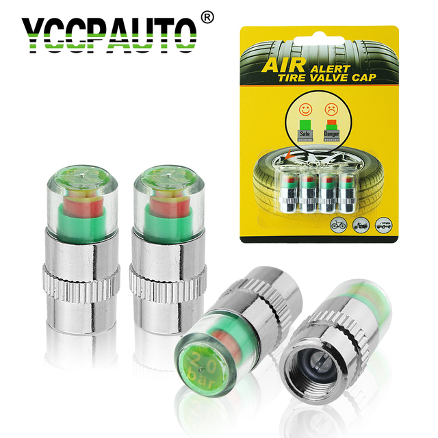 YCCPAUTO 2.0/2.2/2.4 Bar 30/32 PSI Tire Pressure Monitor Pressure Gauge Cap Sensor Indicator Alert Monitoring Tools Kit 4pcs/Lot