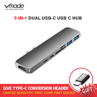 Free converter Type C 7 in 1 Double male expansion dock Thunderbolt 3 USB 3.1 HUB SD/TF Card Reader USB C Adapter for PC Laptop