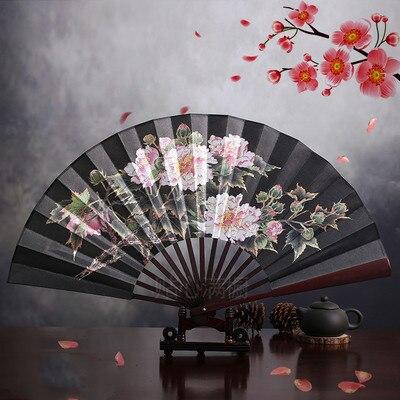 """1"""" украшенный Шелковый складной Ручной Веер человек большой бамбуковый китайский Печатный веер из ткани традиционное ремесло свадебные сувениры веер - Цвет: peony black"""