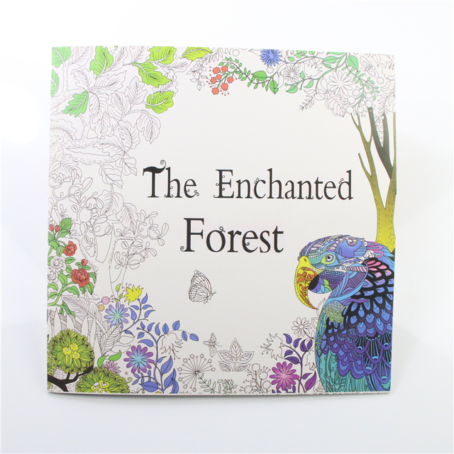 1 Pcs Enchanted Forest Bird 24 Pages English Coloring Book For Children Adult Relieve Stress Kill