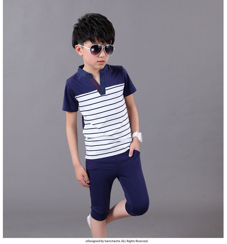 Summer Clothing Sets For Boys 2019 Cotton Big Boy Shirts Pants 2Pcs Casual Striped Boys Suits Teenager Children in Clothing Sets from Mother Kids