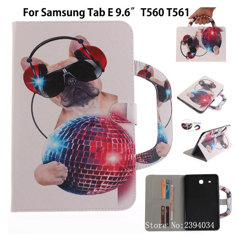 Fashion Animal sFor Samsung Galaxy Tab E 9.6 Case For Samsung Galaxy Tab E T560 SM-T560 T561 Smart Cover PU Leather Funda Cases аксессуар чехол samsung galaxy tab a 7 sm t285 sm t280 it baggage мультистенд black itssgta74 1