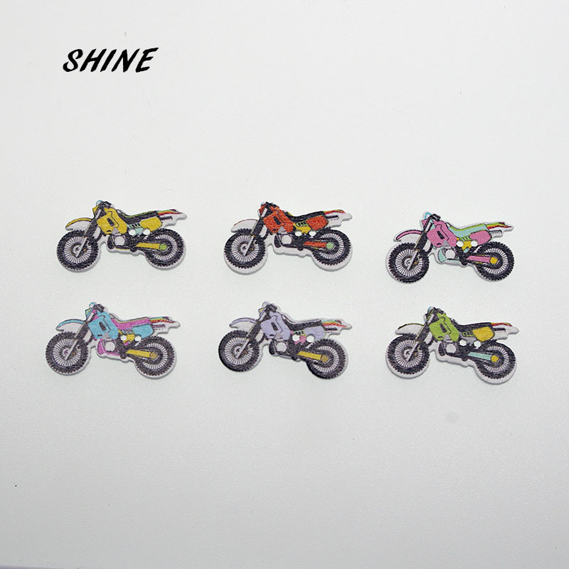 SHINE 12PCs Wooden Sewing Buttons Scrapbooking Motorcycle shape 2 Holes 32X18mm Costura Botones Decorate W10004