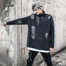Men High Street Fashion Broken Hole Turtleneck Sweater Male Hip Hop Loose Knitted Pullover Sweater Knitwear