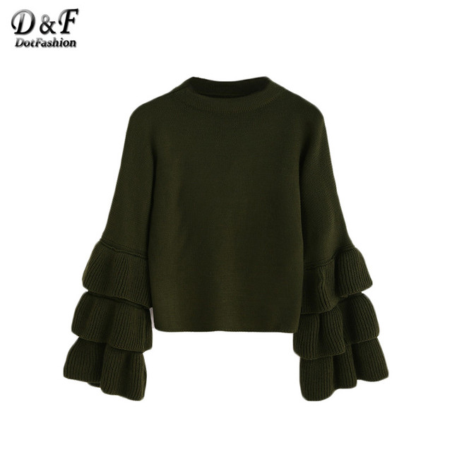 Dotfashion Woman Knitted Wweater Korean Winter Fashion Ladies Pullover Sweaters Olive Green Layered Ruffle Sleeve Sweater