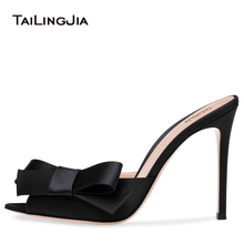 Pointy Peep Toe High Heel Mules with Bow Black Satin Heeled Sandals Women Dress Heels Ladies Summer Stiletto Party Shoes