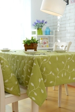 natural tablecloth pastoral floral fabric Embroidery cloth green leaves olive round rectangle table cover