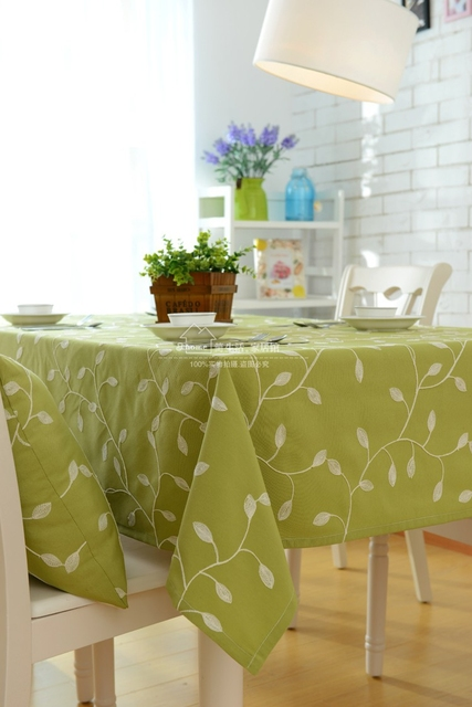 Bon Natural Tablecloth Pastoral Floral Fabric Embroidery Cloth Green Leaves  Olive Round Rectangle Table Cover