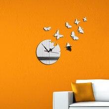 DIY Butterfly Wall Clock Vintage For Living Room Modern Design Clocks Home Decor Mirror Watch