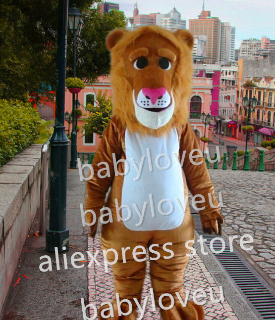Cartoon Lion Mascot Costume Adult Size Wild Animal Male Lion King Carnival Party Cosply Mascotte Fit Suit Kit FREE SHIP