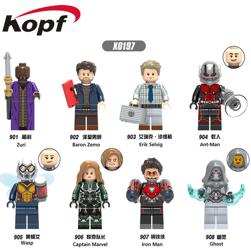 Single Sale Super Heroes Antman Figures Wasp Iron Man Baron Zemo Erik Selvig Bricks Building Blocks Children Gift Toys X0197 single sale super heroes transparent predator the movie series one eyed alien building blocks for children gift toys kf812