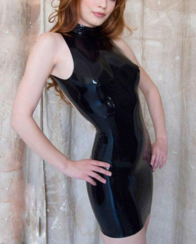 Robe d'été Sexy Noir Latex Femmes Robe 100% Natrual Caoutchouc Robes pageant robes de petites filles Plus La Taille Vente Chaude