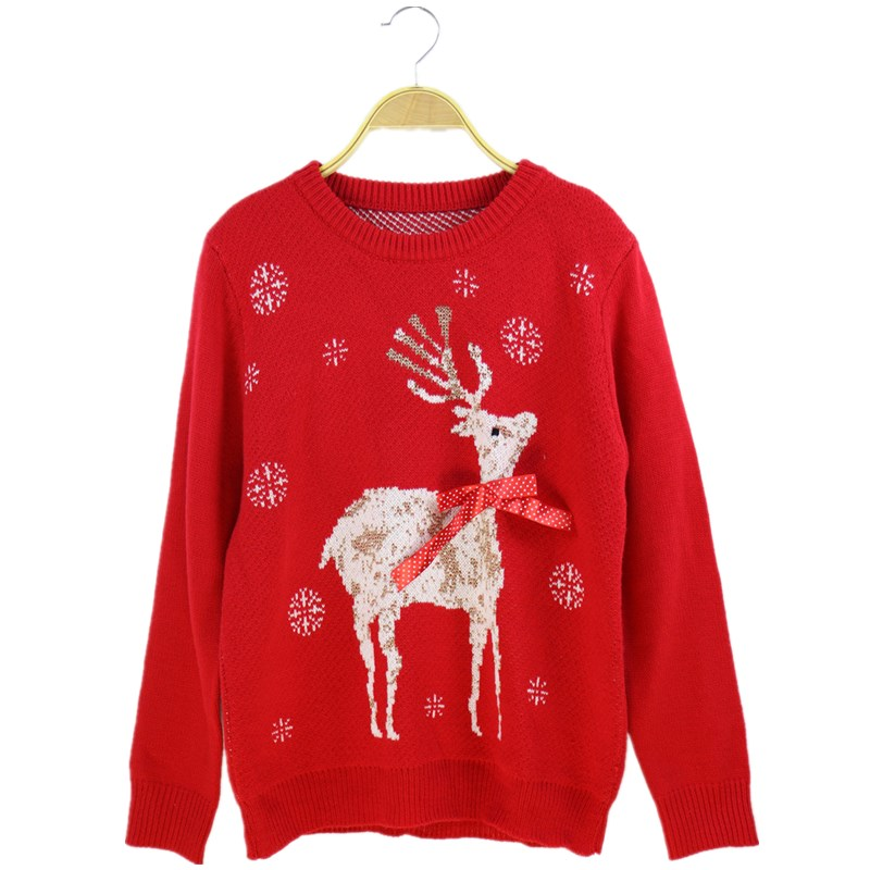 2017 Autumn Winter Christmas Sweater Women Fashion O-Neck Long Sleeve Pullover Elk Deer Casual Warm Sweaters Tops Runway sweater