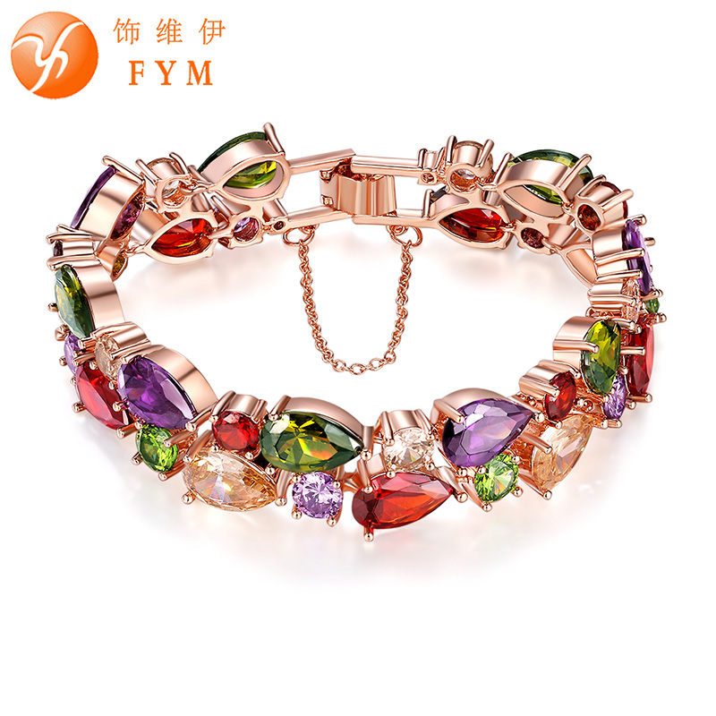 Fym luxury charm cz bracelet trendy rose gold color for What color is the friendship rose