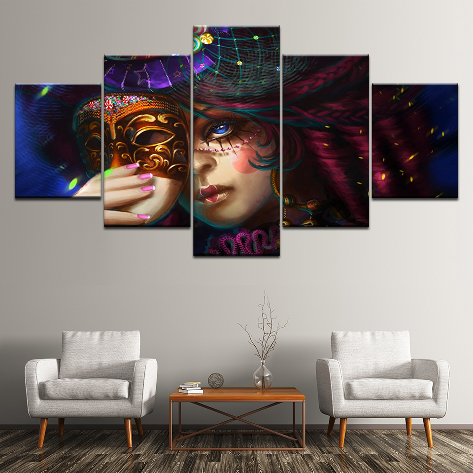Canvas Painting mystical carnival woman with mask Wall Art Painting Modular Wallpapers Poster Print for living room Home Decor