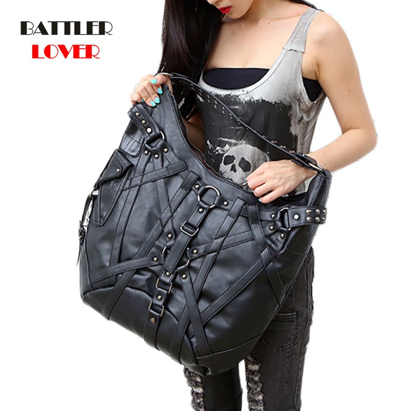 Steampunk Women Big Handbag Vintage Gothic Exclusive Retro Rock Bags Leather Shoulder Bag Ladies New Fashion Halloween Handbags