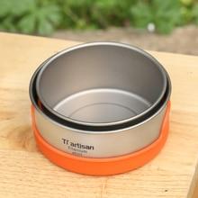 Tiartisan Pure titanium Bowl Camping Bowl Pan Pot Tableware Cookware 400ml or 450ml titanium cookware 2 piece pot and bowl set