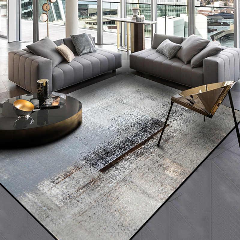 Minimalist Modern Abstract Chinese Ink Painting Carpet Dark Grey Bedroom Kitchen Door Mat Living Room Plush Non Slip Rug Aliexpress