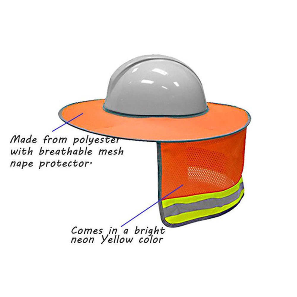 e78307a9971ea Yellow Orange Hat Outdoor Construction Safety Hard Hat Sun Shade Neck  Shield Reflective Stripe Protective Helmets Shield -in Sun Hats from  Apparel ...