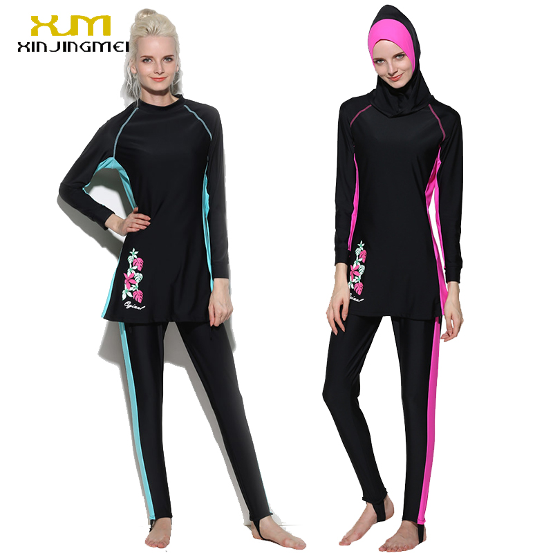 2017 Hot Islamic Womens Swimsuits Muslim Swim Wear With Cap Islamic Swimming Suits Newes ...