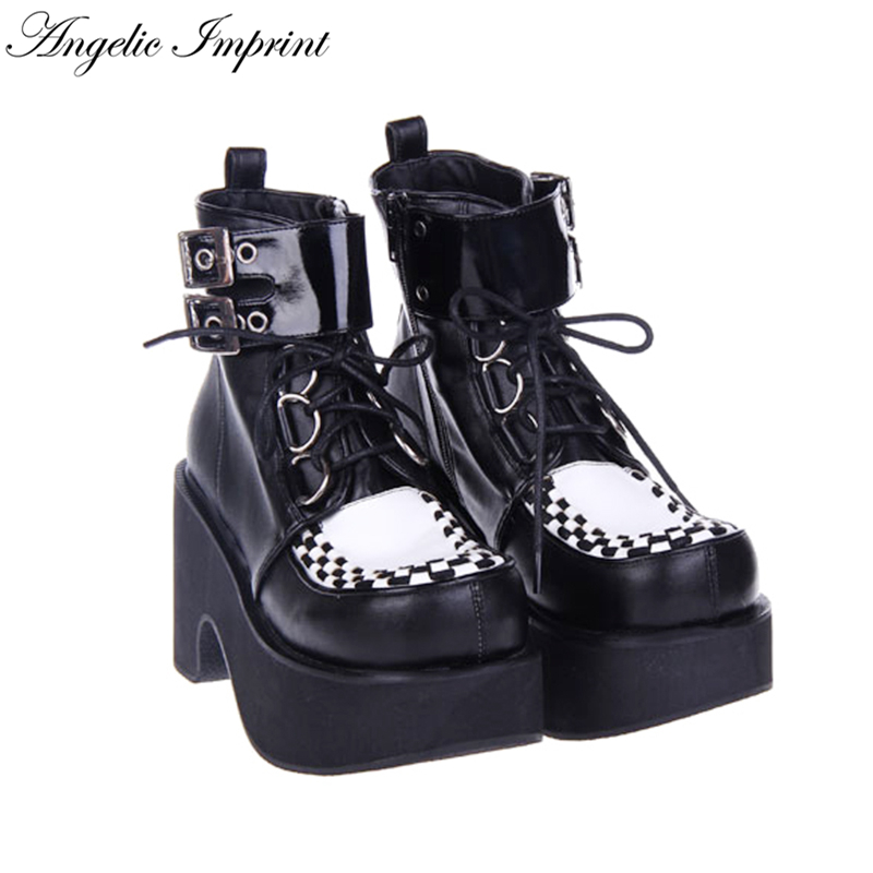 Women Punk Cosplay Thick Platform Black & White Lace-up Buckle Strap Ankle Boots thick strap button up skinny bodysuit