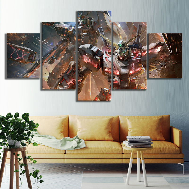 5 Piece Science Fiction Cartoon Movie GUNDAM Poster Animation Art Canvas Paintings for Home Decor Wall Art 1