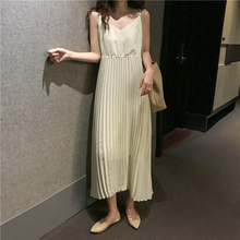 Apricot Backless Chiffon Elegant Dress Pleated Korean V Neck Sexy Basic Spaghetti Strap Dress Women Harajuku Long Ladies Dresses