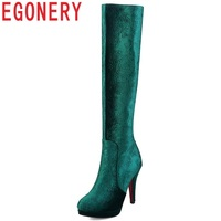 EGONERY Brand Elegance Flower sexy spring winter knee high boots size 11 cm super high thin heels women shoes large size 32 44