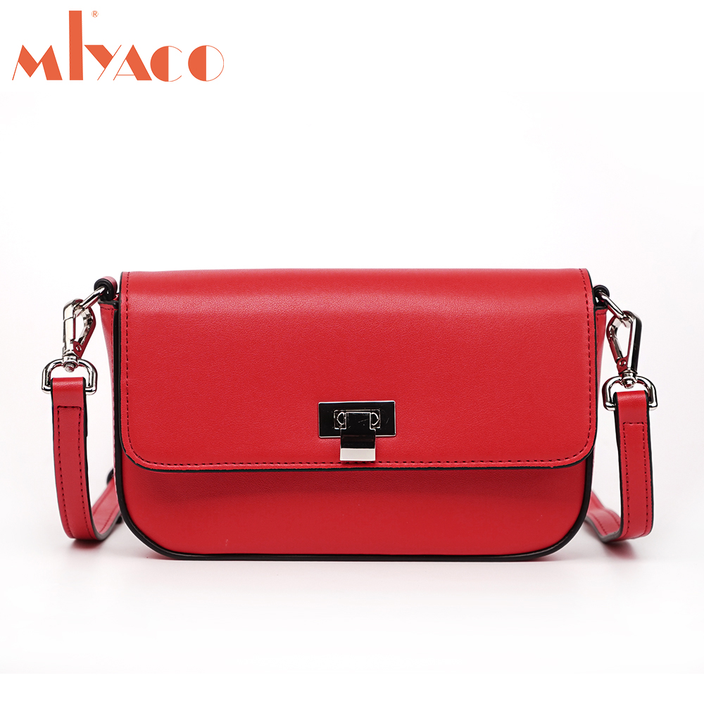 MIYACO Designer CrossBody Bag Women Genuine Leather Flap bags Small Shoulder Bags Messenger bag Lady Fold Cover Red/Black