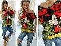 Nuevo Verano Blusa Entallada de Mickey de La Manera Mujeres de la Camiseta Impresa Camiseta Tops de Marca Camiseta Femme Envío Gratis 8946 #