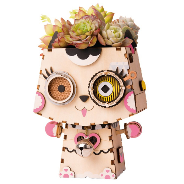 NFSTRIKE Cartoon Cute Robot Flower Pot 3D Puzzle Wood Wooden Kids Model Building Kits Pen Container for Desk Table Home Decor