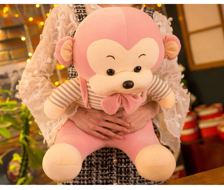 Grand 55 cm dessin animé amour rose singe en peluche en coton doux poupée oreiller jouet cadeau d'anniversaire b2000