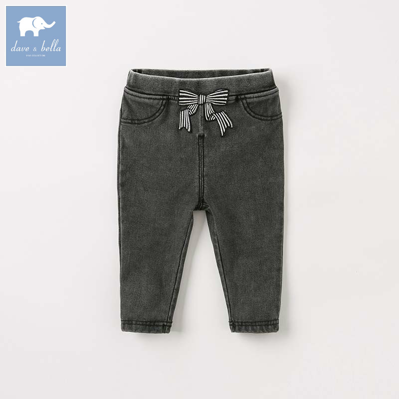 DB8488 dave bella autumn baby girls clothes children full length kids pants infant toddler trousers