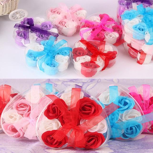 9 pz Fiore di Rosa Del Sapone di Cuore Profumato Bagno Corpo Petalo di Rosa Del