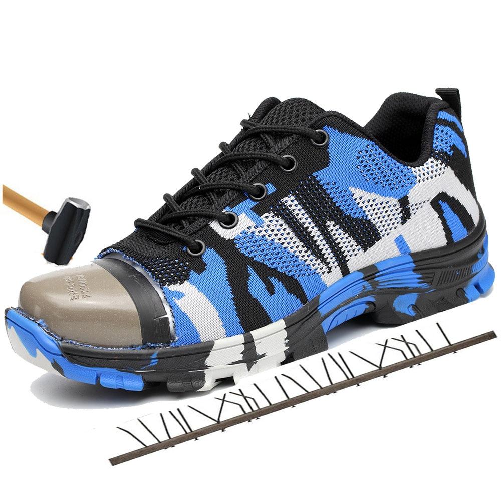 Nuevos hombres al aire libre transpirable malla de acero zapatos de seguridad botas del ejército hombres camuflaje militar Industrial zapatos de trabajo a prueba de pinchazos