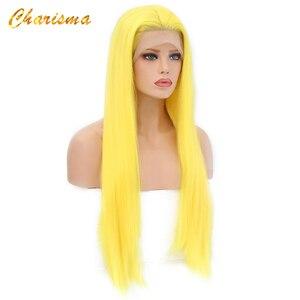 Image 4 - カリスマロングブロンドコスプレかつら絹のようなストレートの合成レースフロントウィッグ女性 10 色ピンク黒グレーで髪