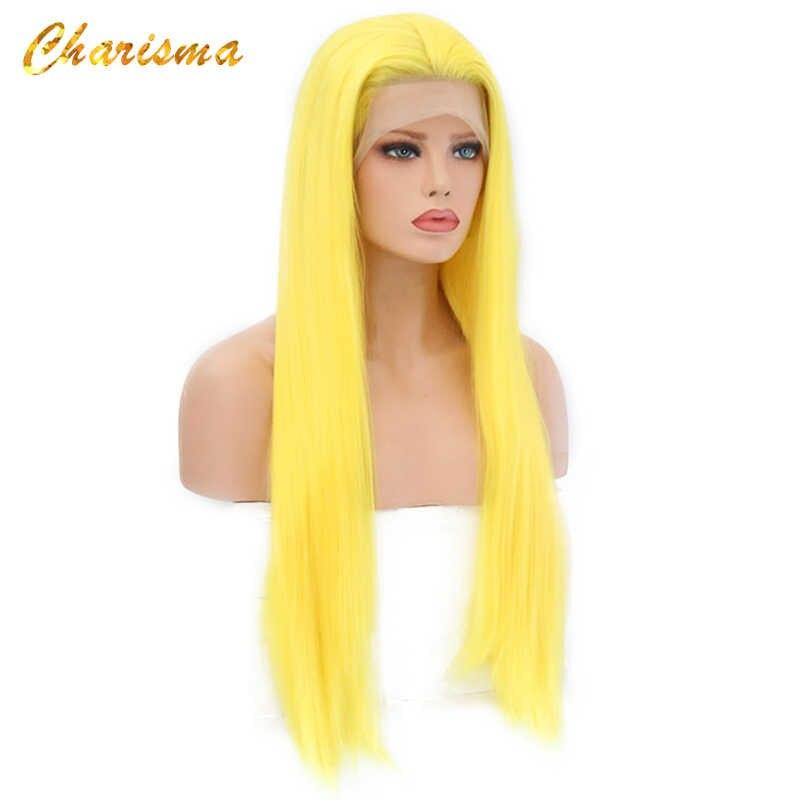Peluca carisma rubia larga para Cosplay, pelucas sedosas rectas sintéticas con encaje frontal para mujer, 10 colores, rosa, negro, gris con pelo de bebé