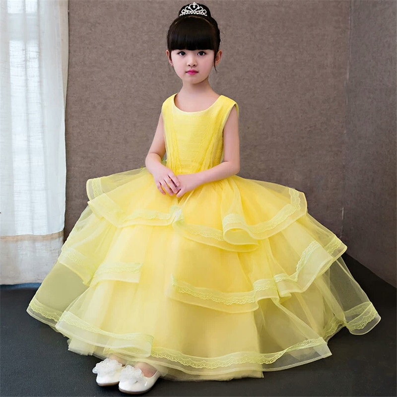 Elegant Long Wedding Formal Ball Gown Dresses Teenage Girls Yellow Children Clothing Layers Dress Princess Birthday Party Wear